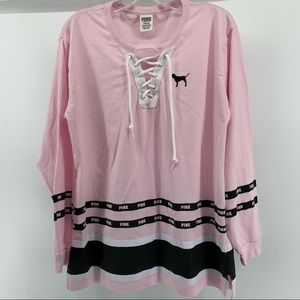 PINK JERSEY LONG SLEEVE T SHIRT SIZE LARGE
